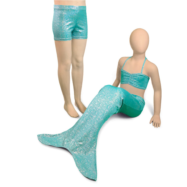 Jessica's Jade Green Bubbles Kids Mermaid Play Tail With Bikini Top & Shorts