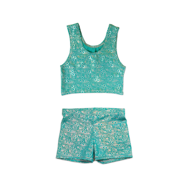 Jessica's Jade Green Bubbles Kids Tankini Top & Shorts