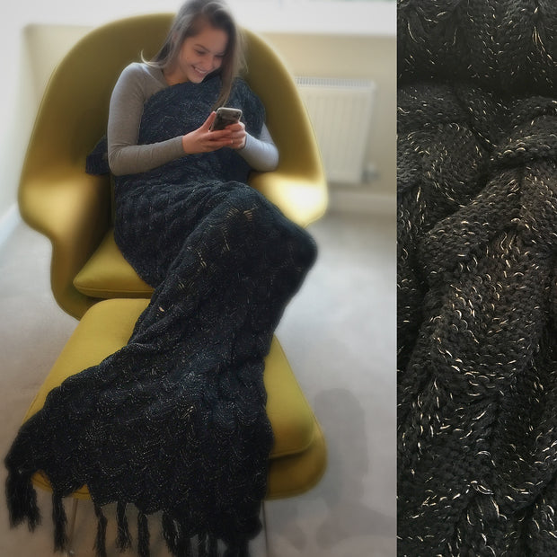 Adult Black and Silver Mermaid Blanket on a chari by Uramermaid