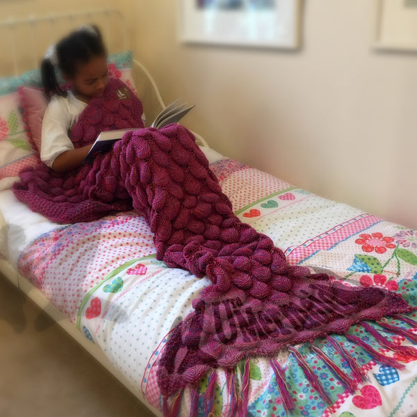 Pink Rainbow Mermaid Tail Blanket Snuggle Ready Wool and Acrylic Blend