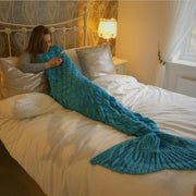 Turquoise Blue Green Fish Scales Mermaid Tail Blanket Size Large
