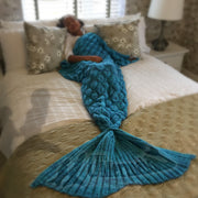 Turquoise Mermaid Tail Blanket For Kids And Adults