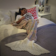uramermaid child mermaid in a rainbow white mermaid blanket