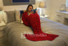 Snuggle Ready Fish Scales Mermaid Tail Blanket in Rich Ruby Red