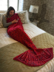 Ruby Red Mermaid Tail Blanket Size Large