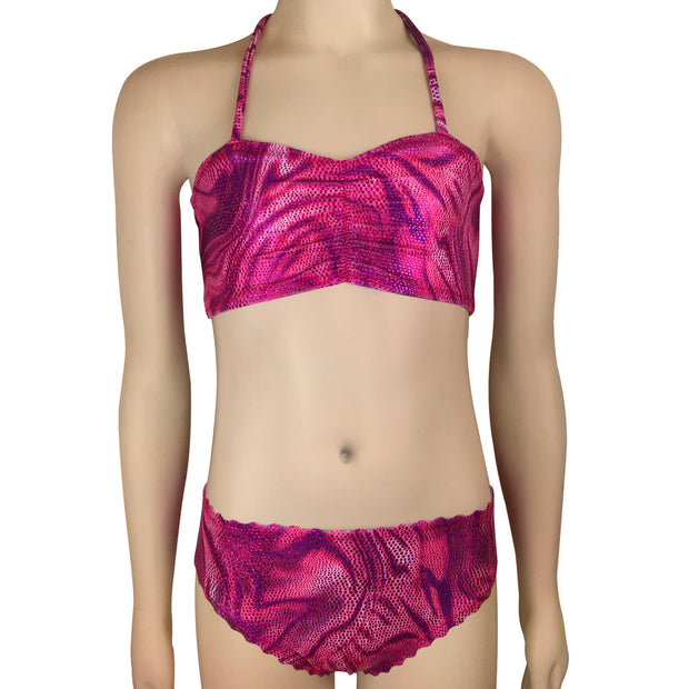 Chloe's Pink Scales Kids Bikini Top & Bottoms
