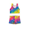 Rihanna's rainbow bubbles dancewear tankini crop top and shorts - by UraMermaid.com