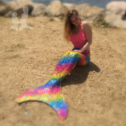 Mermaid Tail in Rihanna's Rainbow Bubbles - Includes Teen+ Olympic Monofin in Purple by UraMermaid.com