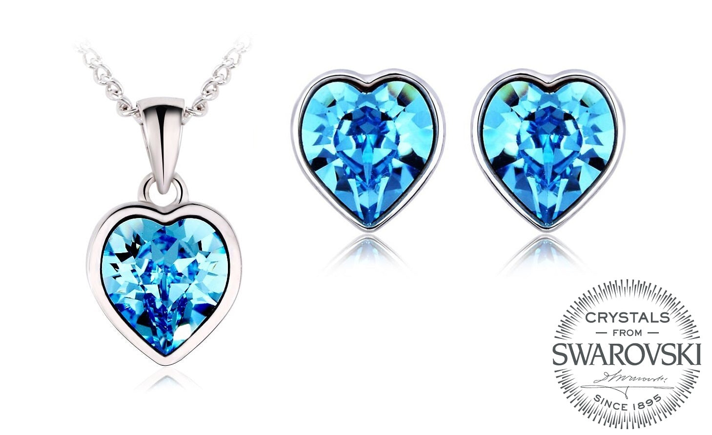 Light Blue Heart Necklace and Earrings with Crystals from Swarovski –  DhiaJewellery 3ae551dbd2