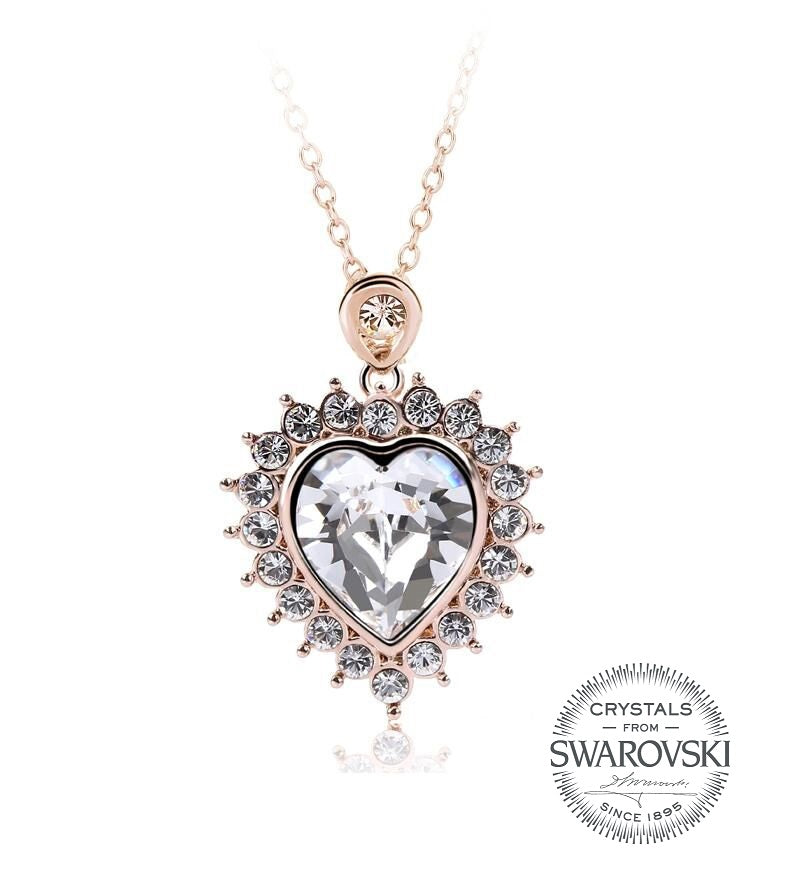 d30d9e4005c0b Rose Gold Heart Necklace with Crystals from Swarovski