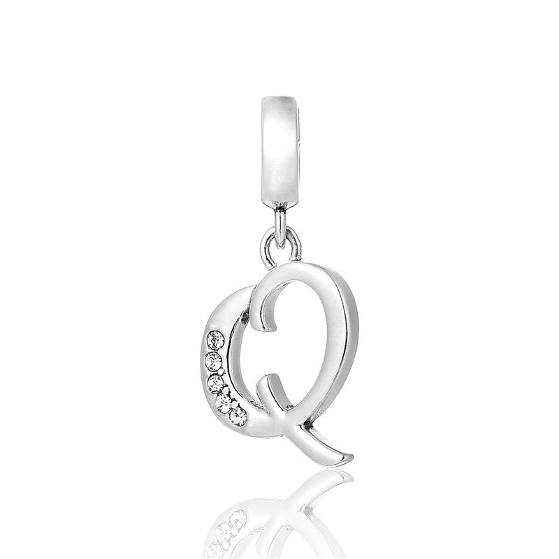 4118c636fb04d Sterling Silver Alphabet Letter Charm/Pendants [Q] made with Swarovski  Crystals.