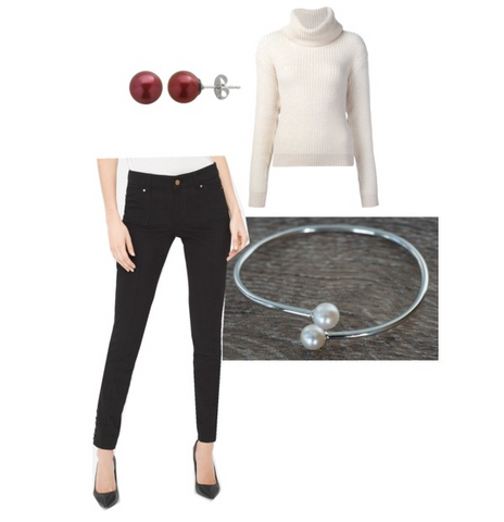 Holiday party accessories sweater and jeans