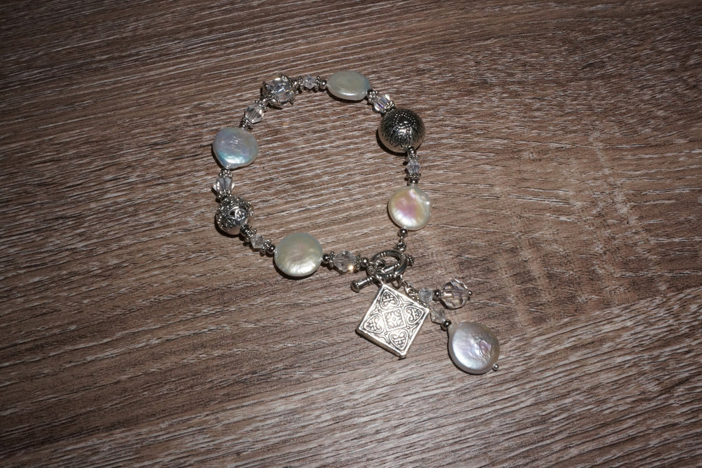 Silver Coin Pearl and Crystal Bracelet - Pearls4Girls