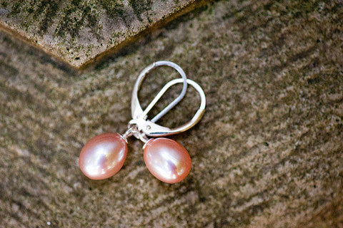 Pink Sterling Hook Earrings