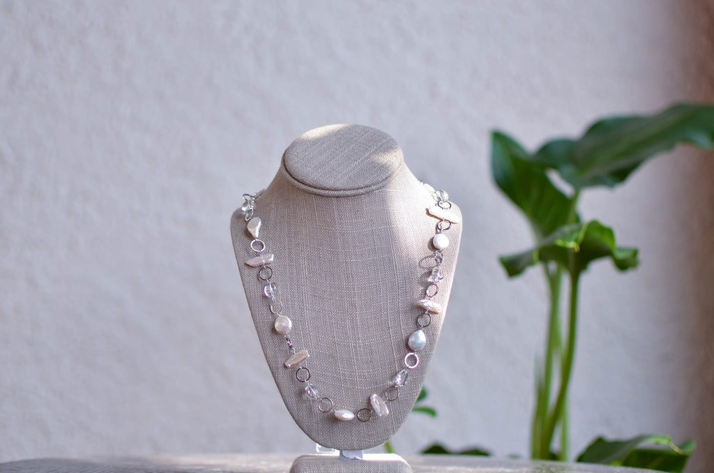 Shark Tooth Pearl and Clear Crystal Necklace - Pearls4Girls