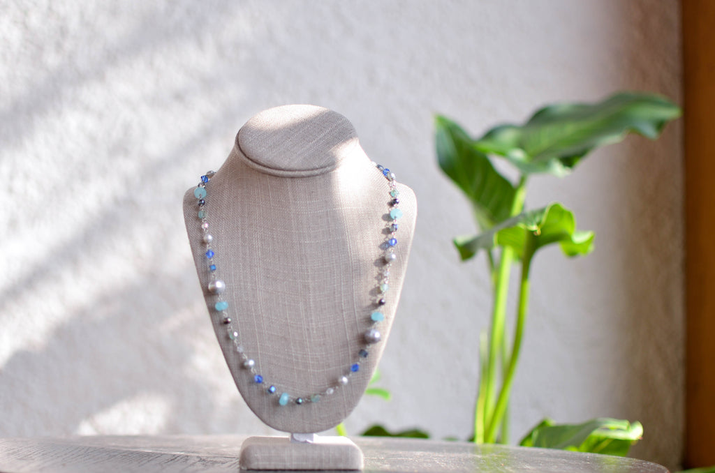 Long Necklace with Turquoise Beads and Silver Pearls - Pearls4Girls