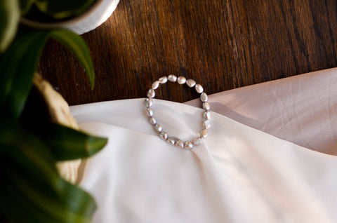 White Baroque Pearl and Onyx Bracelet