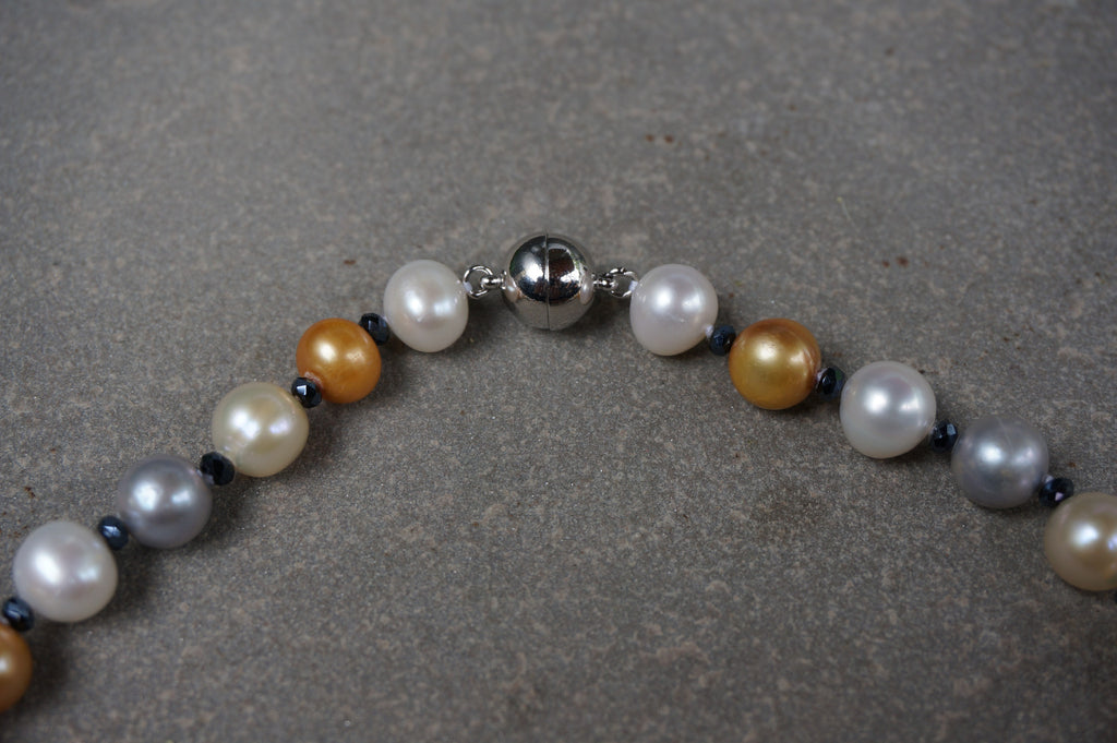 Gold and Cream Pearl Necklace - Pearls4Girls