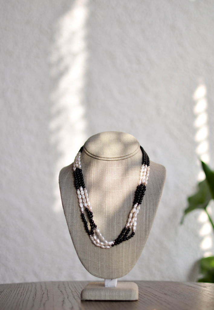 Triple Strand Pearl Necklace with Onyx - Pearls4Girls