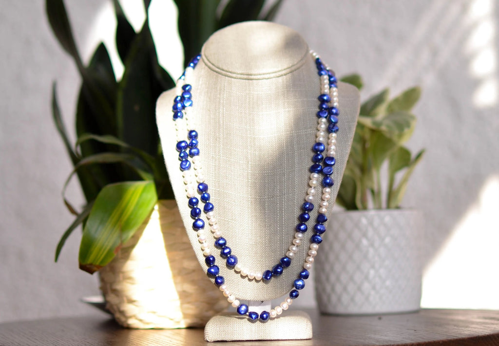 Double Strand White Potato Pearl and Blue Baroque Pearl Necklace - Pearls4Girls