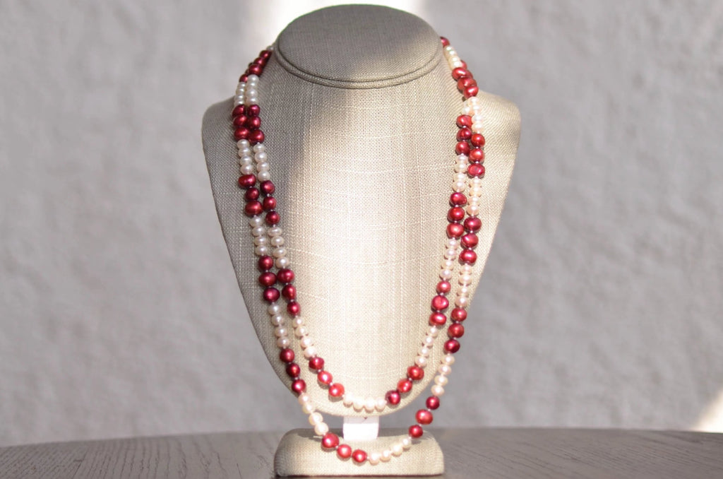 Double Strand White Potato Pearl and Red Baroque Pearl Necklace - Pearls4Girls
