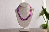 Triple Strand Magenta Baroque Pearl Necklace - Pearls4Girls