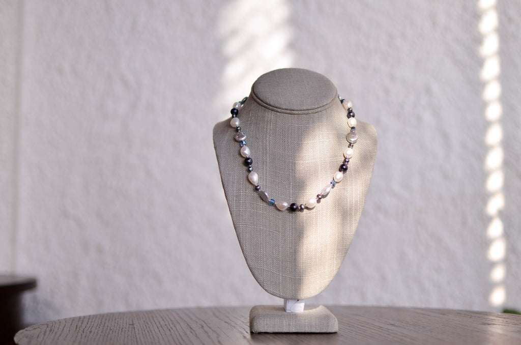 Single Strand White Baroque Pearl Necklace with Grey Coin Pearls And Stones - Pearls4Girls