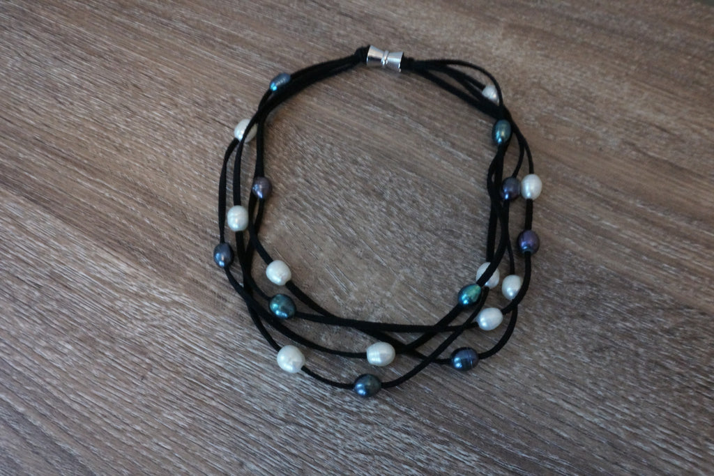 Suede Cord and Pearl Necklace