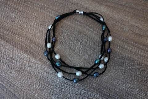 Large Pearl, Yellow Gold, and Turquoise Mid-Length Necklace