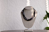 Triple Strand Blue and Grey Necklace - Pearls4Girls