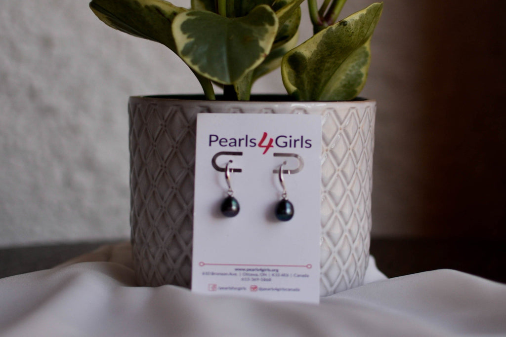 Black Drop Earrings - Pearls4Girls