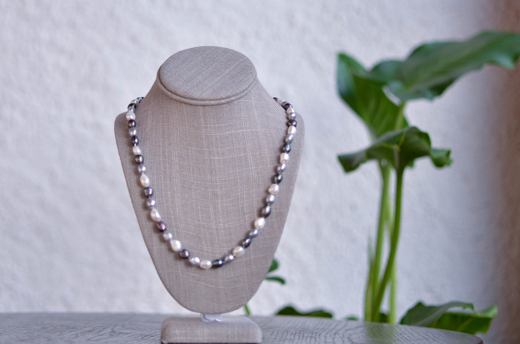 Long Dark Grey, Light Grey and White Baroque Necklace - Pearls4Girls