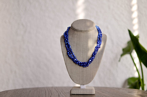 Triple Strand Blue and Grey Necklace