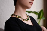 Green Keshi Pearl and Emerald Necklace - Pearls4Girls