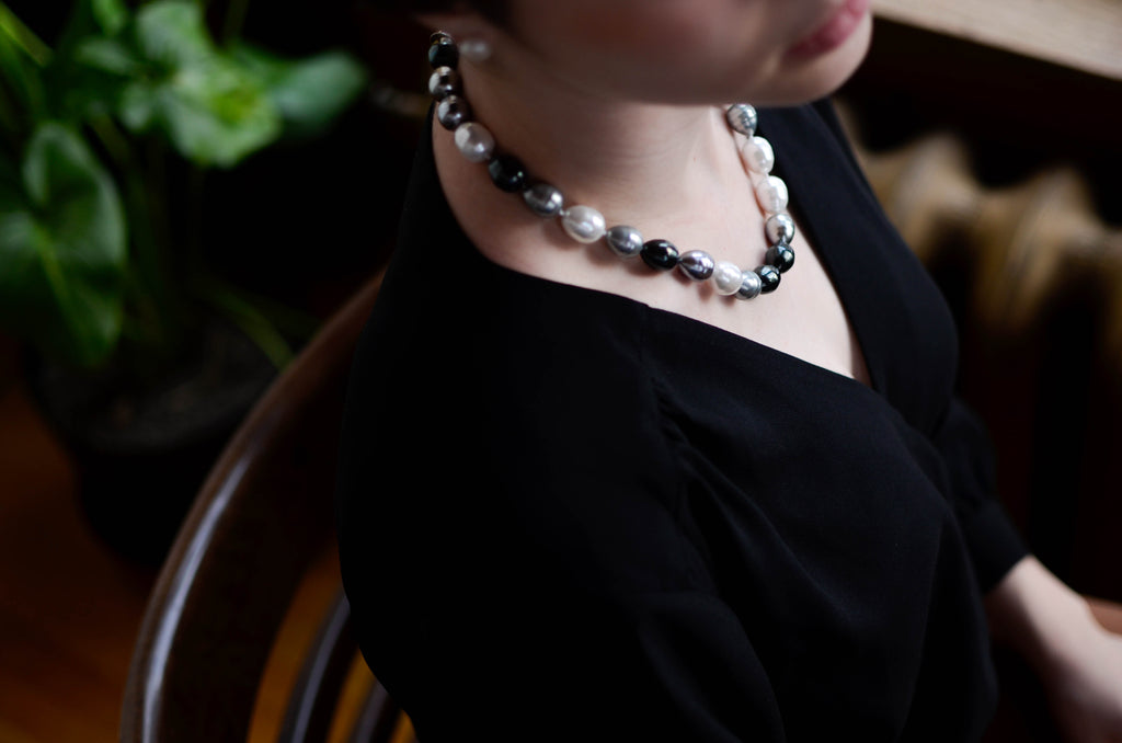 White, Grey and Black Baroque Necklace - Pearls4Girls
