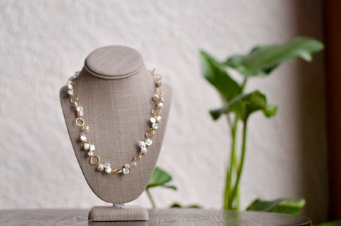 Long Dark Grey, Light Grey and White Baroque Necklace