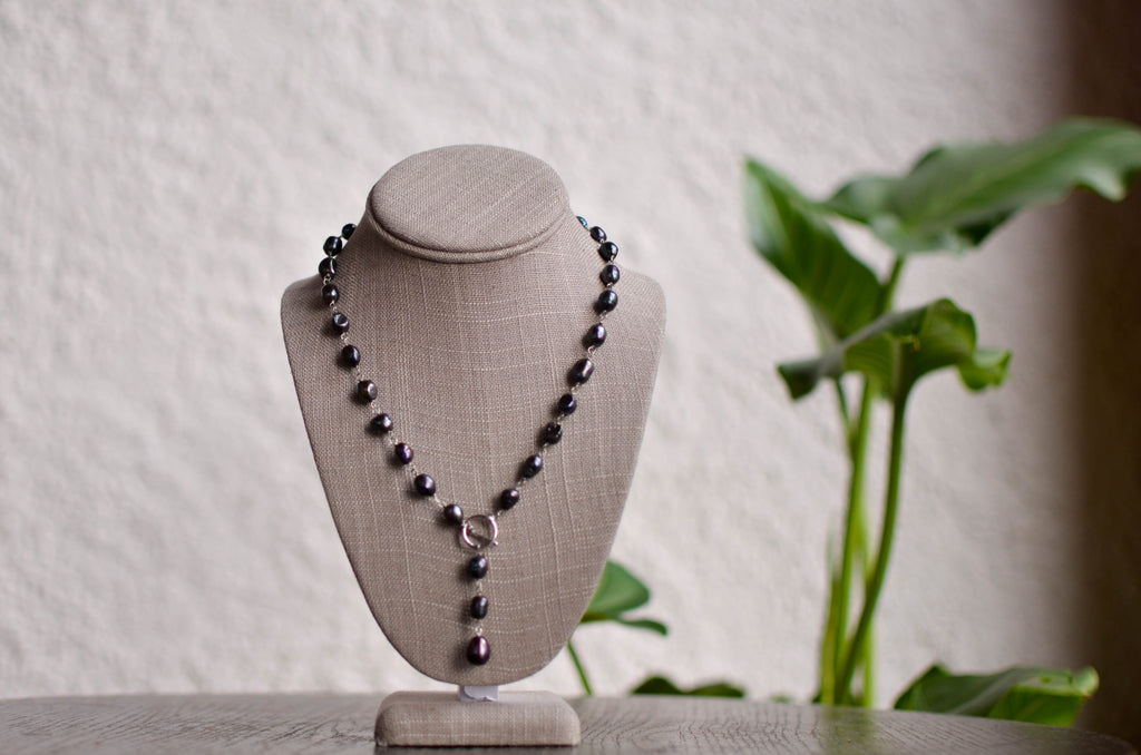 Dark Pearl Drop Necklace - Pearls4Girls