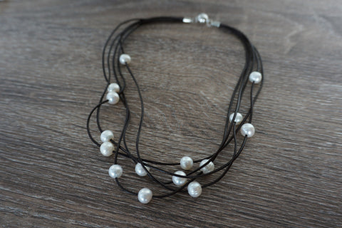 Single Strand White Baroque Pearl Necklace with Grey Coin Pearls And Stones
