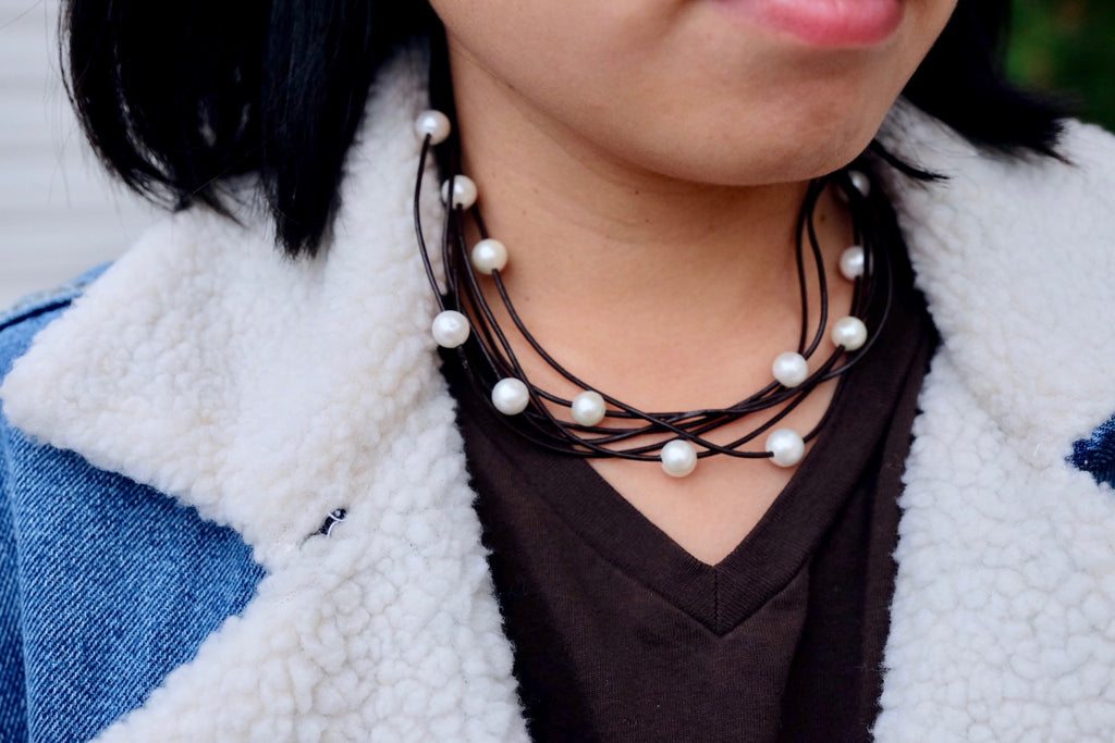 Leather Cord and Pearl Necklace - Pearls4Girls