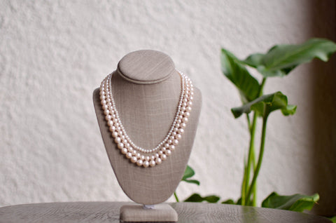 Triple Strand Magenta Baroque Pearl Necklace