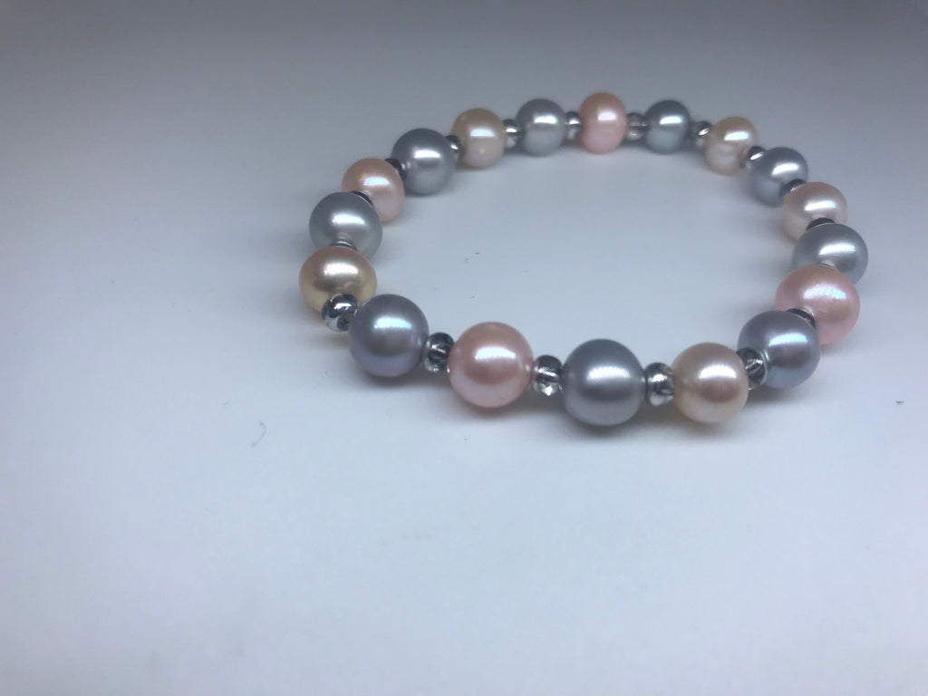 Signature Bracelet - Grey and Pink - Pearls4Girls