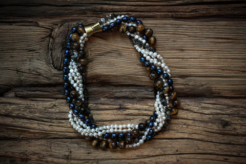 Triple Strand Onyx, Labradorite, and Shark-tooth Pearl Necklace