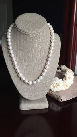 Triple Strand Beige Pearl and Rhinestone Necklace