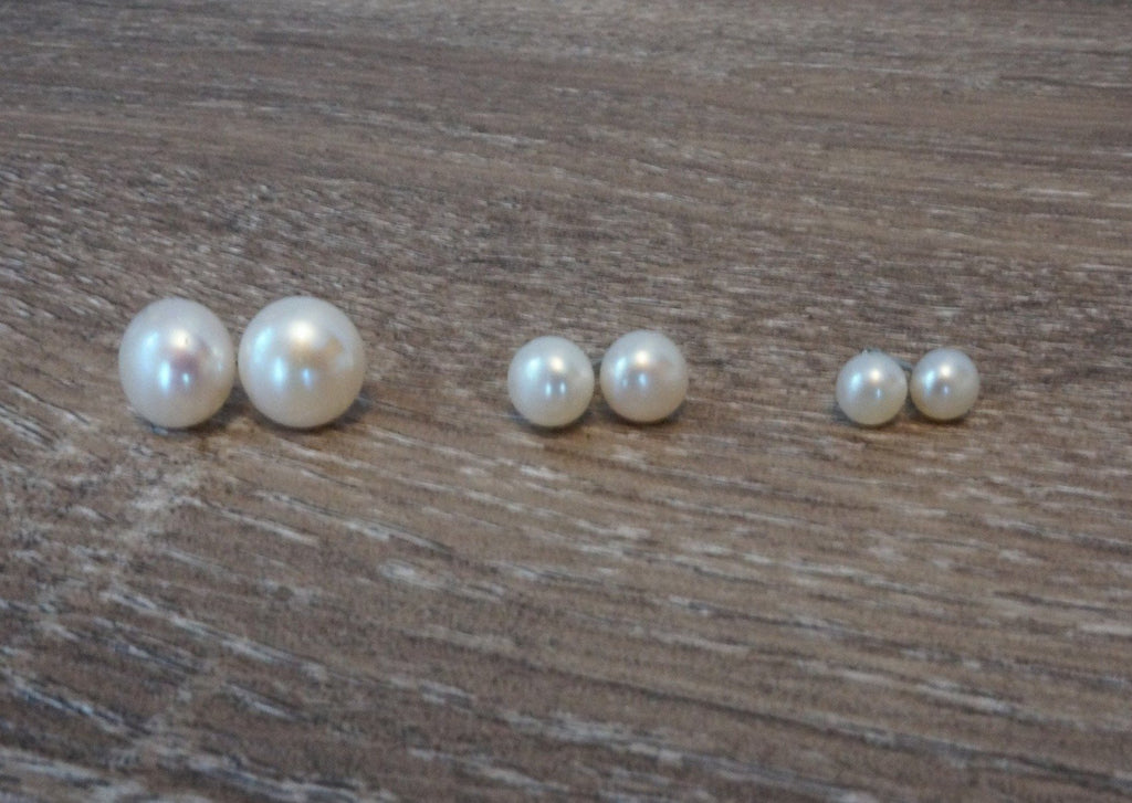 White Pearl Studs - Pearls4Girls