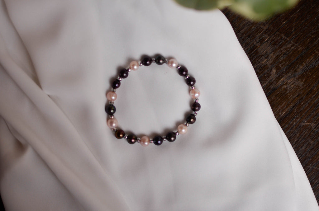 Signature Bracelet - Black and Pink - Pearls4Girls