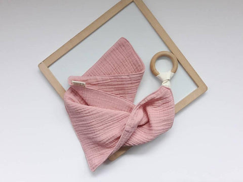 Blush Pink Muslin Cloth with Teething Ring by Pure Cotton Studio