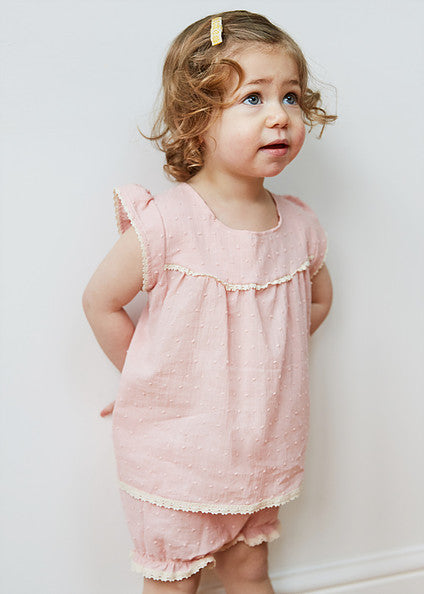 Toddler top and bloomers set of sleepwear. Handmade to order in a beautiful selection of 100% cotton fabrics by Thimble London available at Wonder of Kin. Curating Indie Brands especially for you.