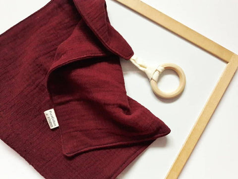 Burgundy Muslin Cloth with Teething Ring by Pure Cotton Studio