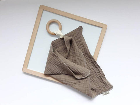 Coffee Brown Muslin Cloth with Teething Ring by Pure Cotton Studio