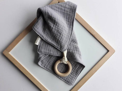 Silver Grey Muslin Cloth with Teething Ring by Pure Cotton Studio